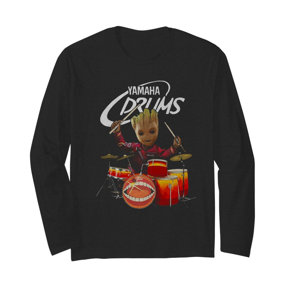 Baby Groot Show Animal Yamaha Drums  Long Sleeved T-shirt