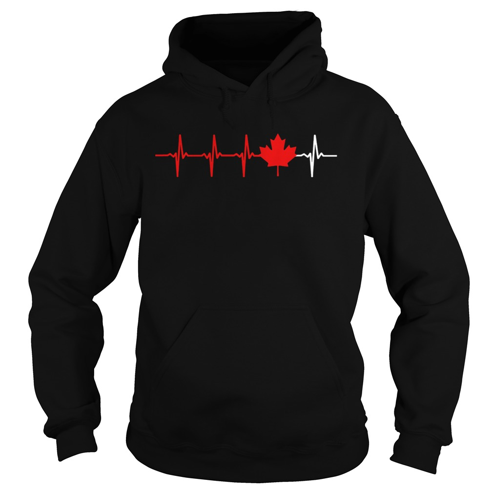 Canadian Heartbeat Maple Leaf  Hoodie