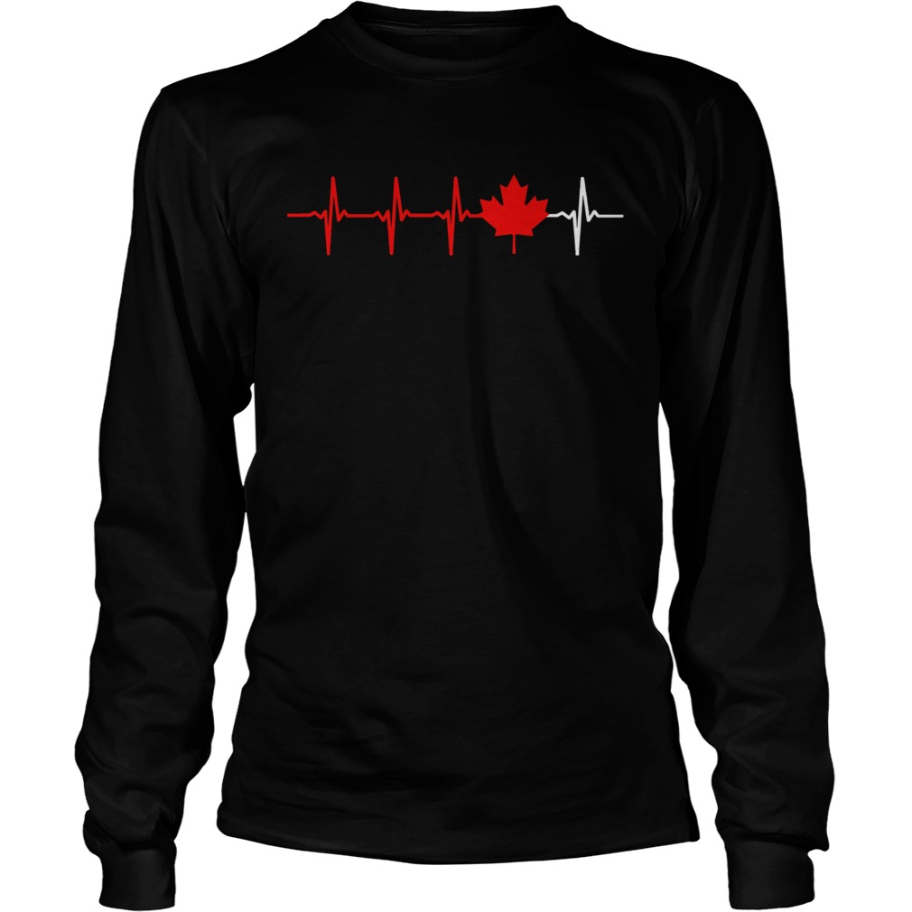 Canadian Heartbeat Maple Leaf  Long Sleeve