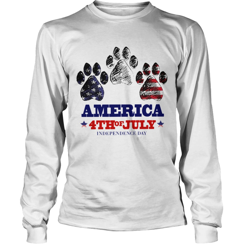 Paw Dog America 4th Of July Independence Day  Long Sleeve