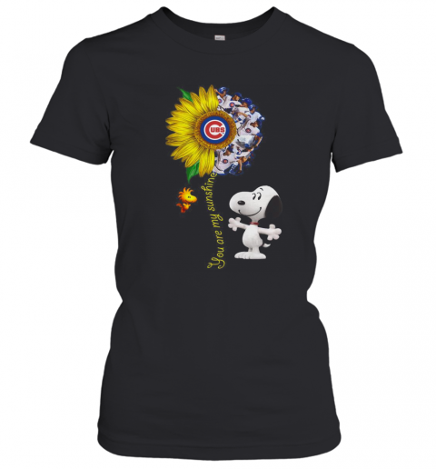 Snoopy And Woodstock You Are My Sunshine Chicago Cubs Sunflower T-Shirt Classic Women's T-shirt