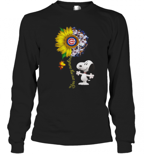 Snoopy And Woodstock You Are My Sunshine Chicago Cubs Sunflower T-Shirt Long Sleeved T-shirt