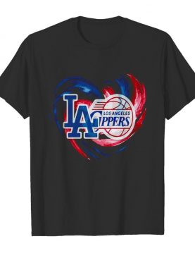 Los angeles dodgers and los angeles clippers heart color shirt