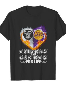 Los angeles raiders and los angeles lakers for life heart shirt