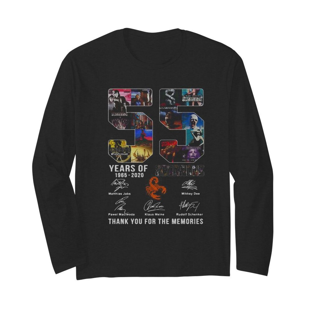 55 years of 1965 2020 scorpions thank you for the memories signatures  Long Sleeved T-shirt