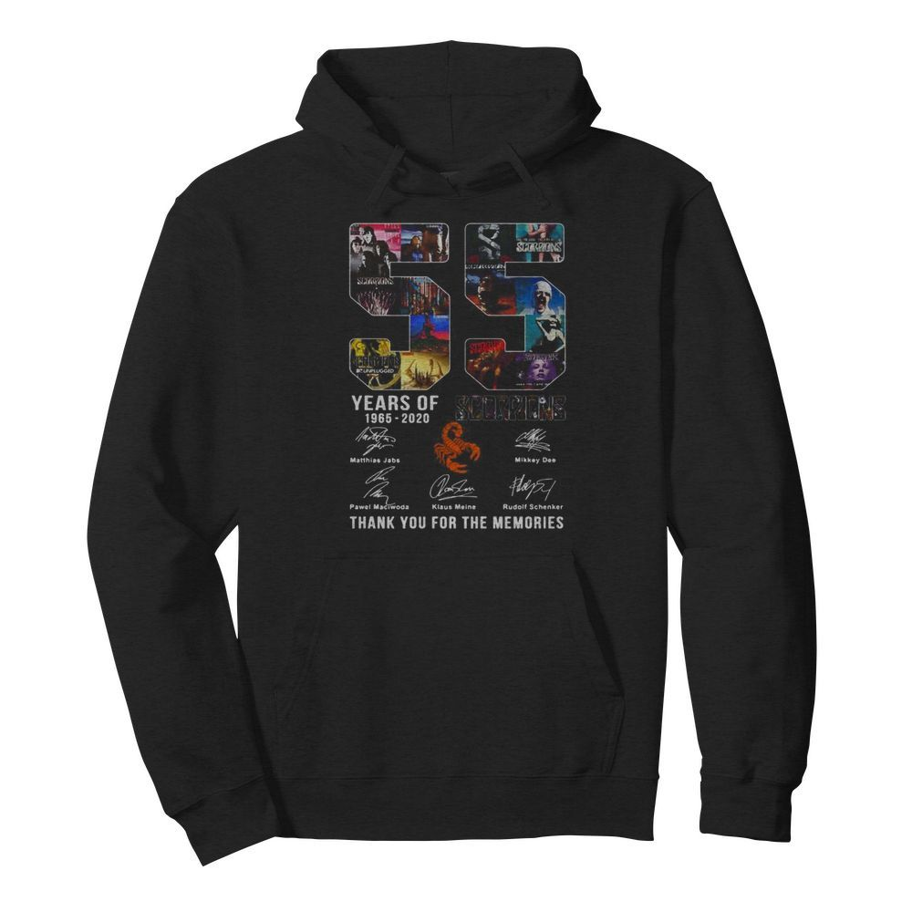 55 years of 1965 2020 scorpions thank you for the memories signatures  Unisex Hoodie