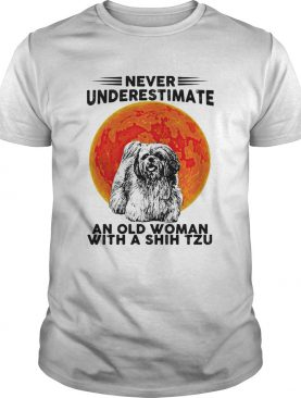 Never Underestimate An Old Woman With A Shih Tzu Dog Moon Halloween shirt