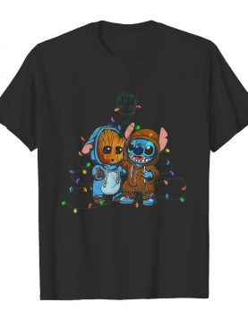 Baby Groot And Baby Stitch Merry Christmas Light shirt
