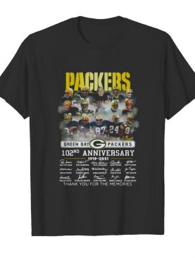 Green Bay Packers 102th anniversary 1919-2021 thank you for the memories signatures shirt